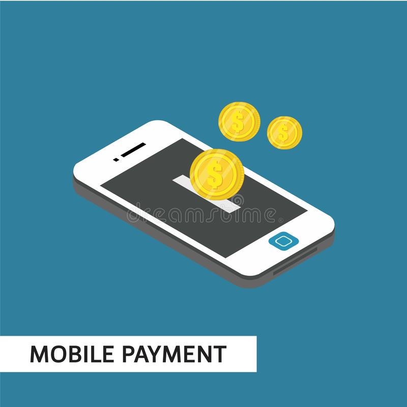 För vektormall för mobil betalning isometrisk illustration för design royaltyfri illustrationer
