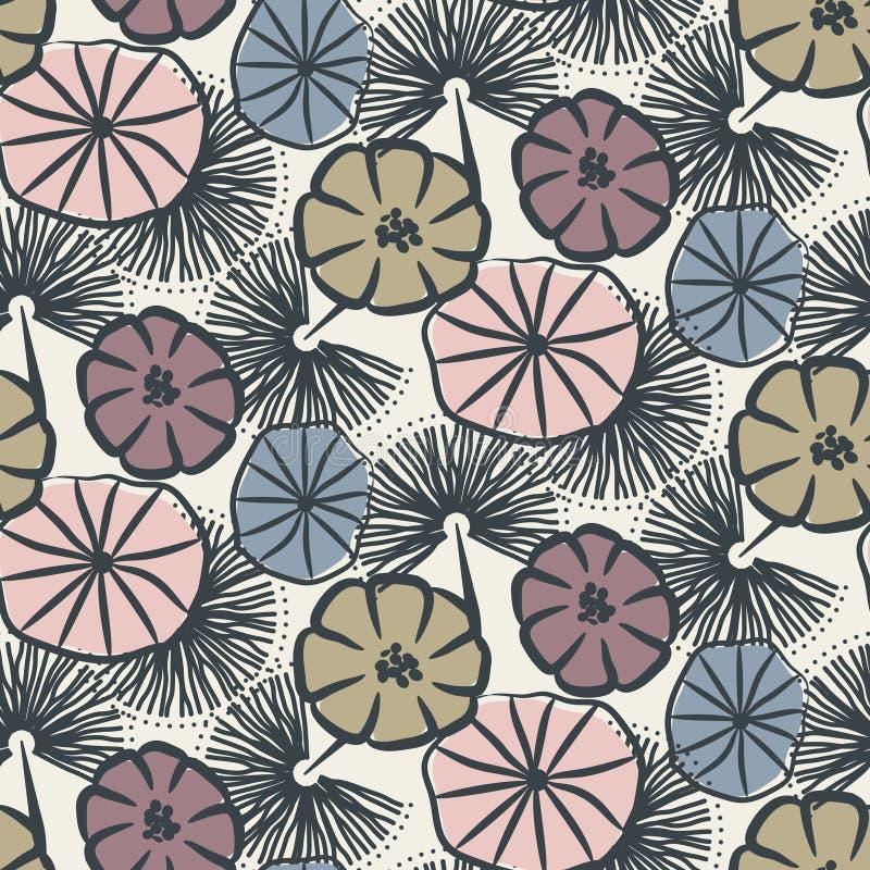 För vektormodell för blomma sömlös illustration royaltyfri illustrationer