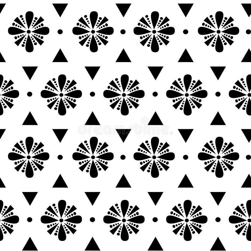 För vektormodell för abstrakta geometriska svartvita blommor sömlös illustration för bakgrund royaltyfri illustrationer