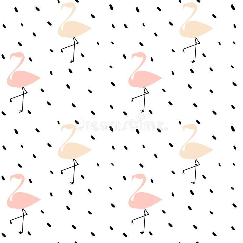 För vektormodell för gulliga rosa flamingo sömlös illustration för bakgrund med svarta prickar stock illustrationer