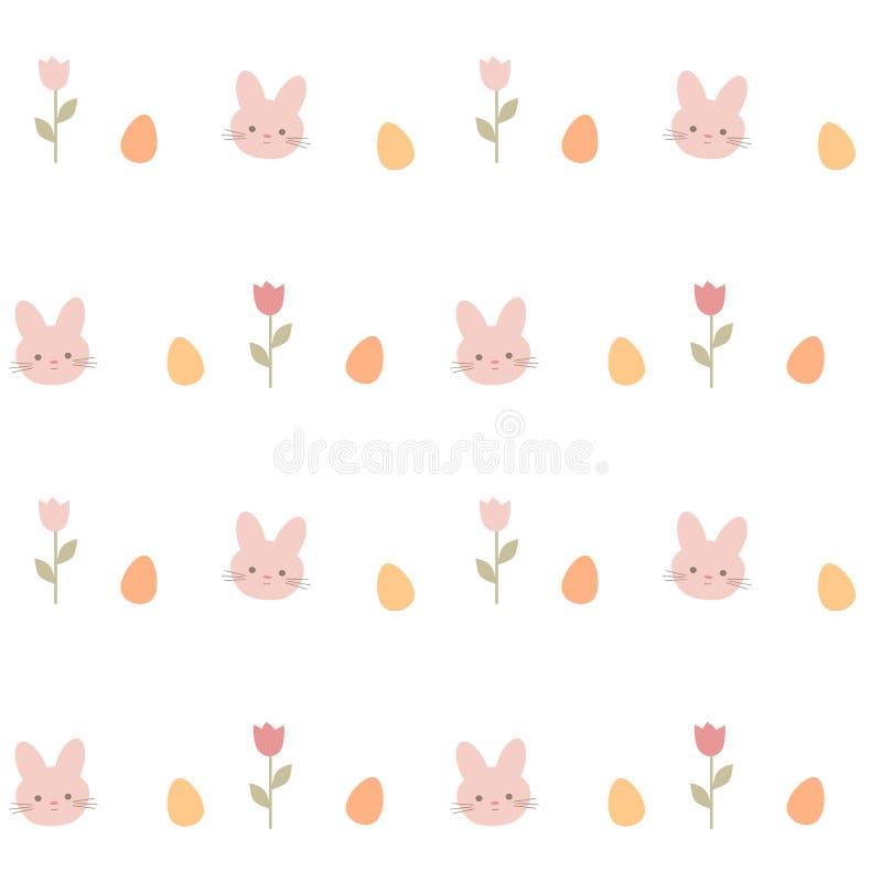 För vektormodell för gullig älskvärd tecknad film sömlös illustration för bakgrund med kaniner, tulpan och easter ägg royaltyfri illustrationer