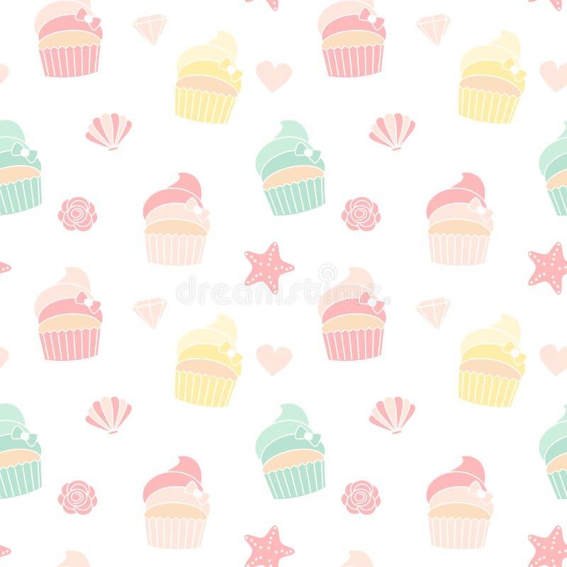 För vektormodell för gullig färgrik sommar sömlös illustration för bakgrund med muffin, sjöstjärnor, skaldjur, hjärtor, rosor royaltyfri illustrationer