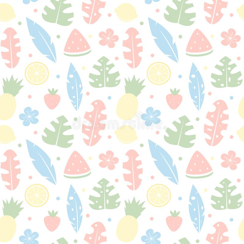 För vektormodell för gullig färgrik tropisk sommar sömlös illustration för bakgrund med hibiskusen, tropiska frukter och det exot vektor illustrationer