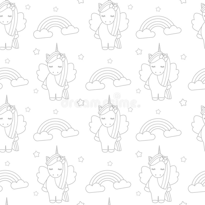 För vektormodell för gullig tecknad film älskvärd svartvit sömlös illustration för bakgrund med enhörningar och regnbågar stock illustrationer