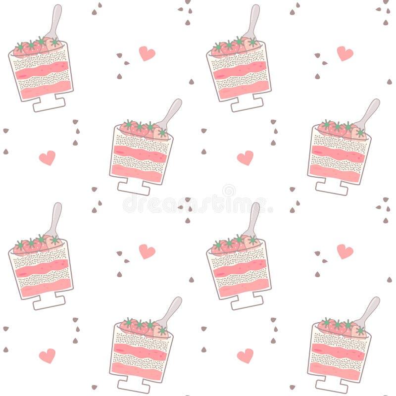 För vektormodellen för den gulliga tecknade filmen mjölkar den sömlösa illustrationen för bakgrund med den sunda jordgubbechiaen  vektor illustrationer
