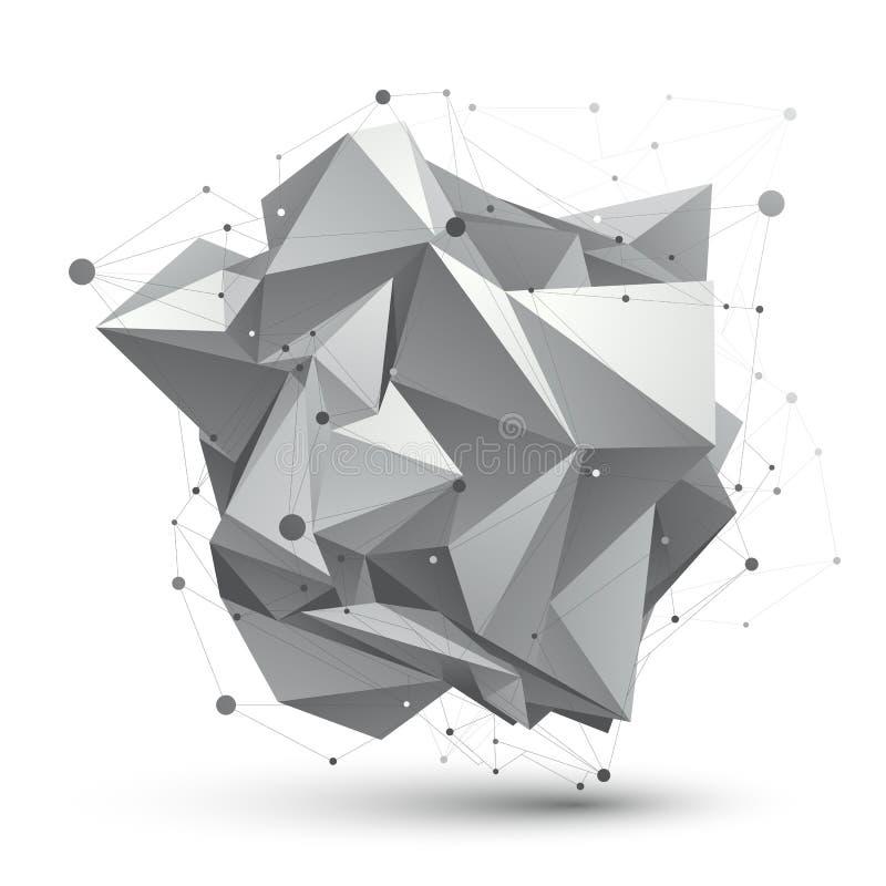 För vektornätverk för abstrakt struktur 3D polygonal objekt, gråton stock illustrationer