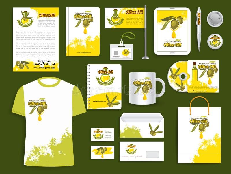 För vektorobjekt för företags identitet produkter för olivolja stock illustrationer