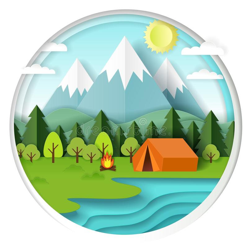För vektorpapper för sommar campa illustration för snitt stock illustrationer