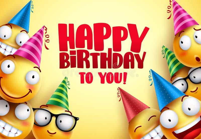 För vektorsmileys för lycklig födelsedag hälsningar planlägger med roligt royaltyfri illustrationer