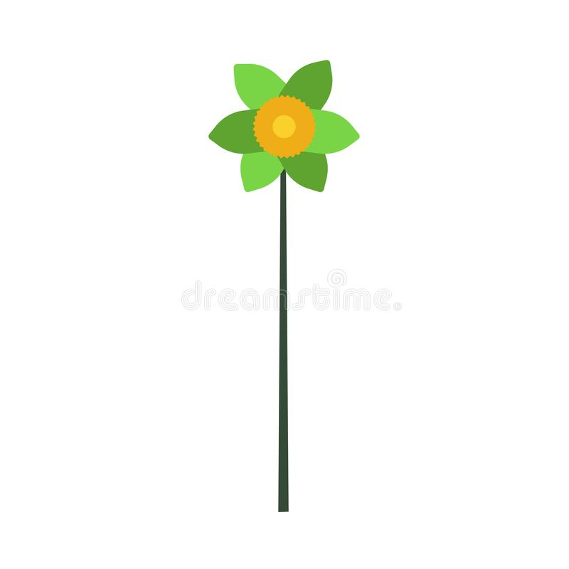 För vektorsymbol för blomma blom- konst för design för illustration Isolerad gräsplan för naturbladblomning Botanisk kontur för v royaltyfri illustrationer