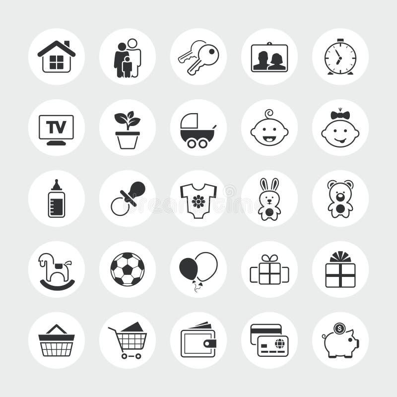 För vektorsymbol för familj och för hem sammanlagd uppsättning royaltyfri illustrationer