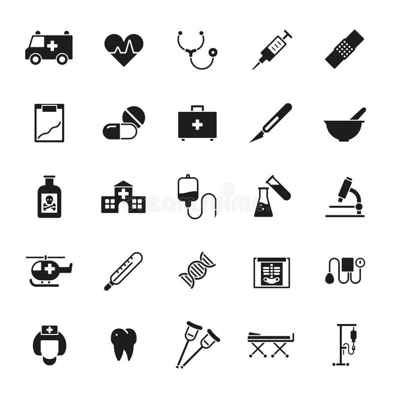 För vektorsymbol för läkarundersökning och för hälsovård fast uppsättning vektor illustrationer