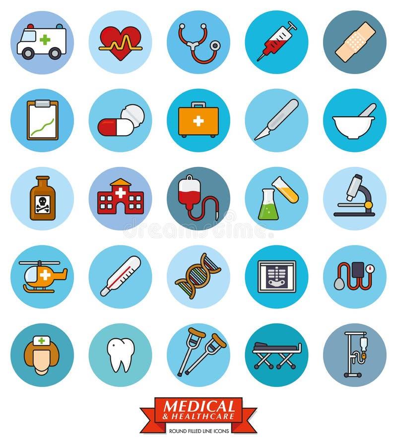 För vektorsymbol för läkarundersökning och för hälsovård rund uppsättning stock illustrationer