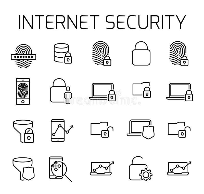 För vektorsymbol för internet säkerhet släkt uppsättning royaltyfri illustrationer