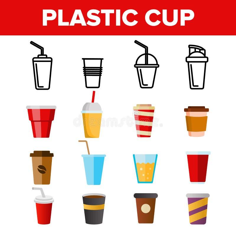 För vektorsymboler för disponibel plast- kopp linjär uppsättning royaltyfri illustrationer