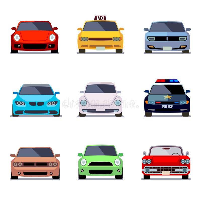 För vektorsymboler för bil plan sikt framme stock illustrationer