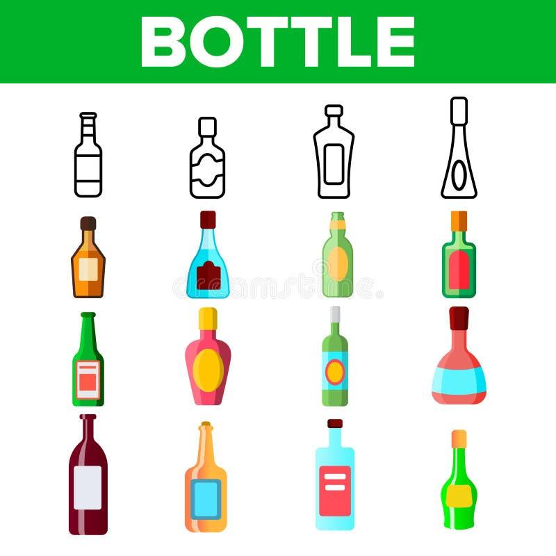 För vektorsymboler för glasflaskor linjär uppsättning vektor illustrationer