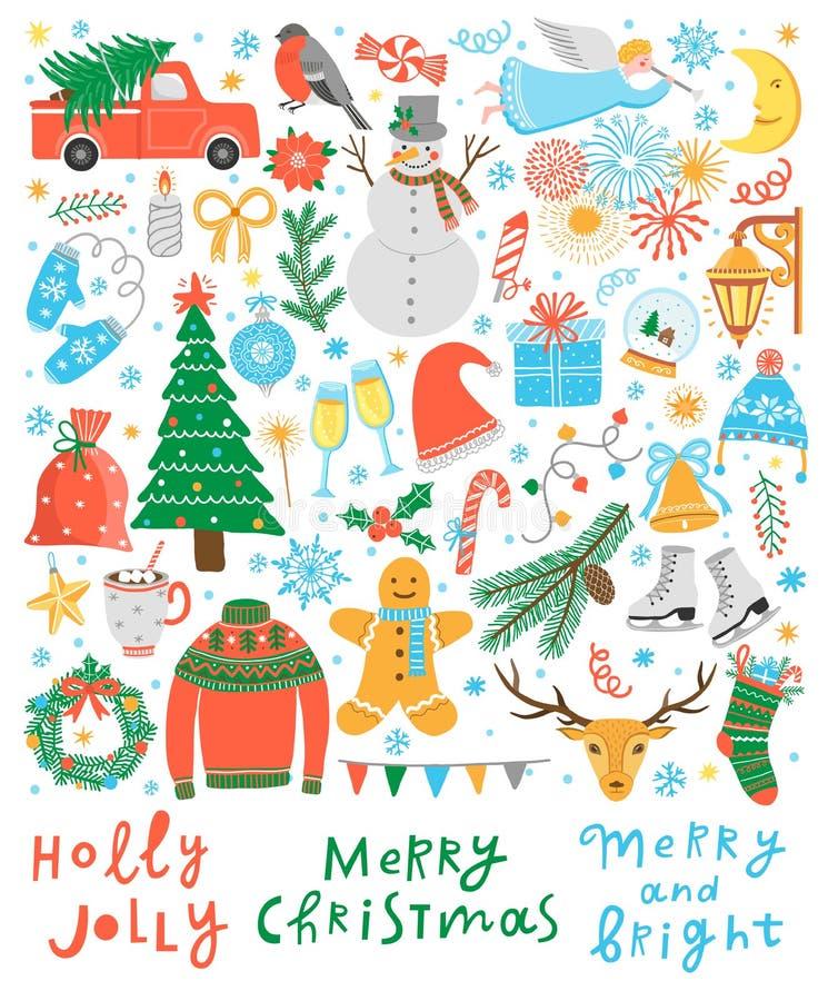 För vektorsymboler för jul gullig uppsättning royaltyfri illustrationer