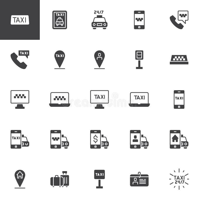 För vektorsymboler för taxi tjänste- uppsättning royaltyfri illustrationer