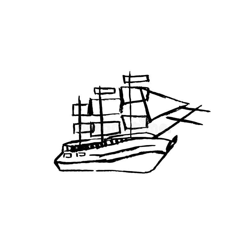För vektortappning för hand utdraget skepp för segling i havet stock illustrationer