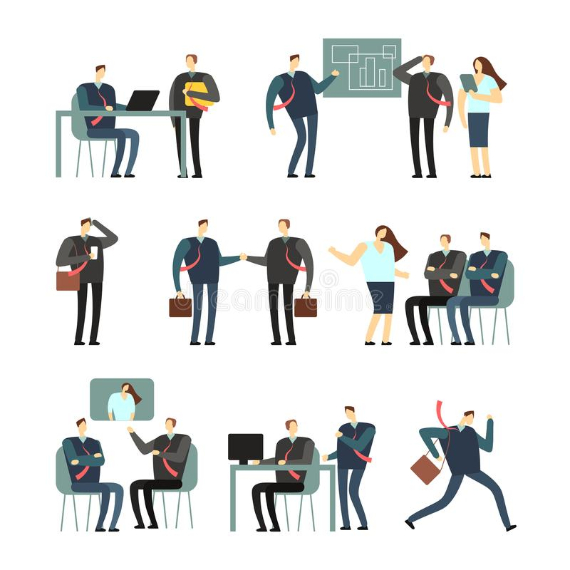 För vektortecknad film för funktionsdugligt folk tecken Anställdkvinnor och män i regeringsställning, coworkers för affärsidé vektor illustrationer