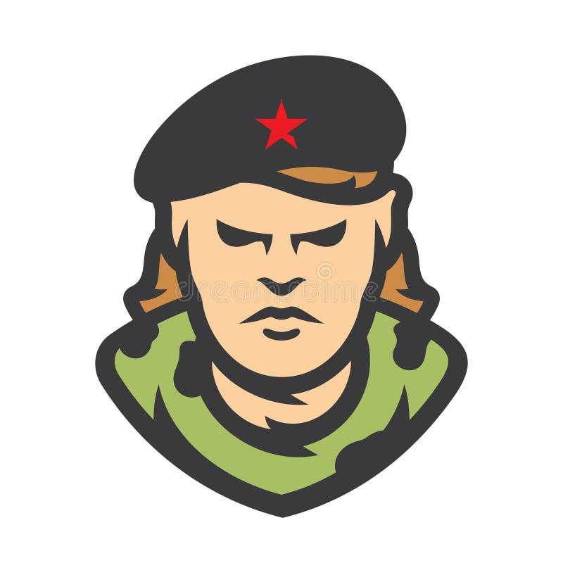 För vektortecknad film för Kuba kommunistisk revolutionär illustration stock illustrationer