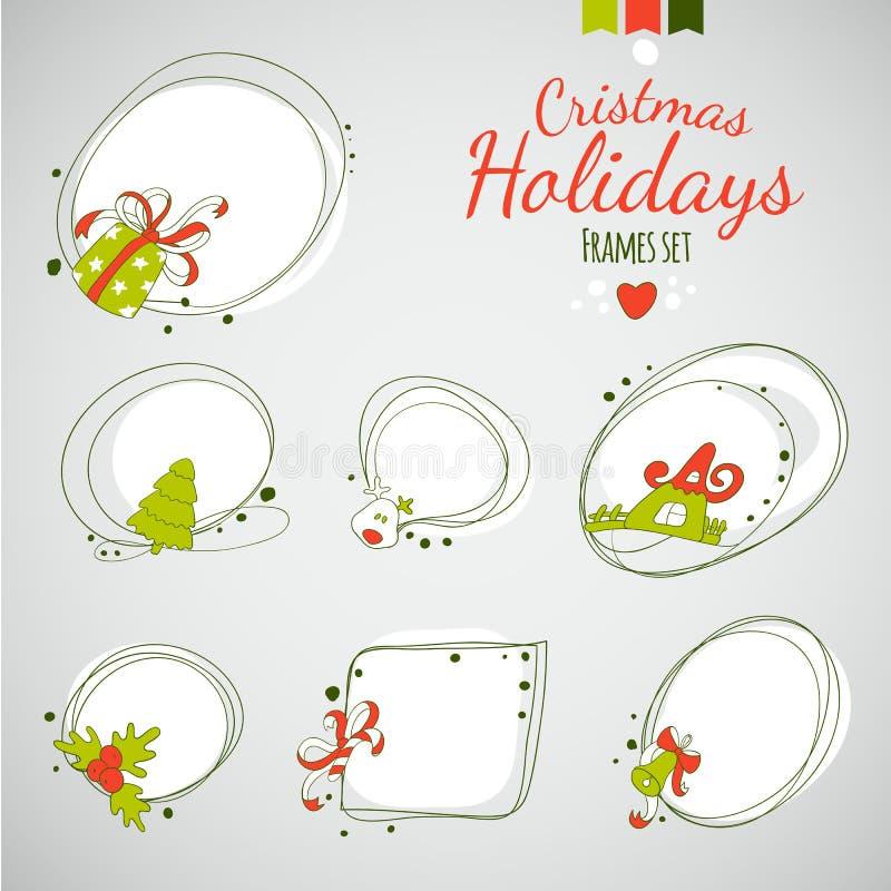 För vektorteckning för glad jul ramar royaltyfri illustrationer