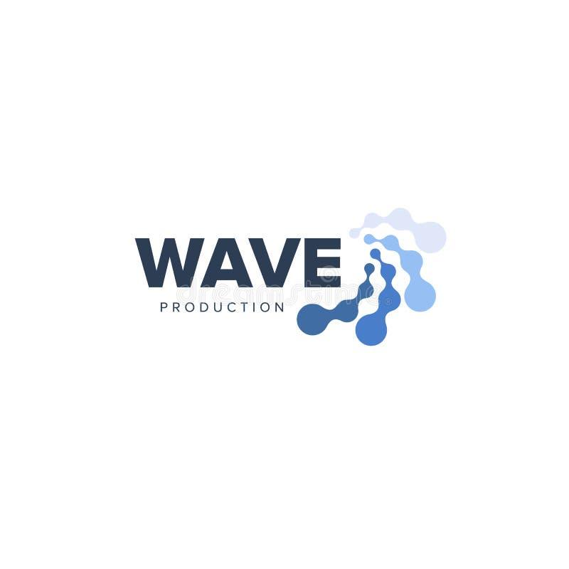 För vektorvatten för vatten abstrakt logo Linjer och pricker vågor Vinkar logotypen Grafisk bio teknologisymbol också vektor för  royaltyfri illustrationer