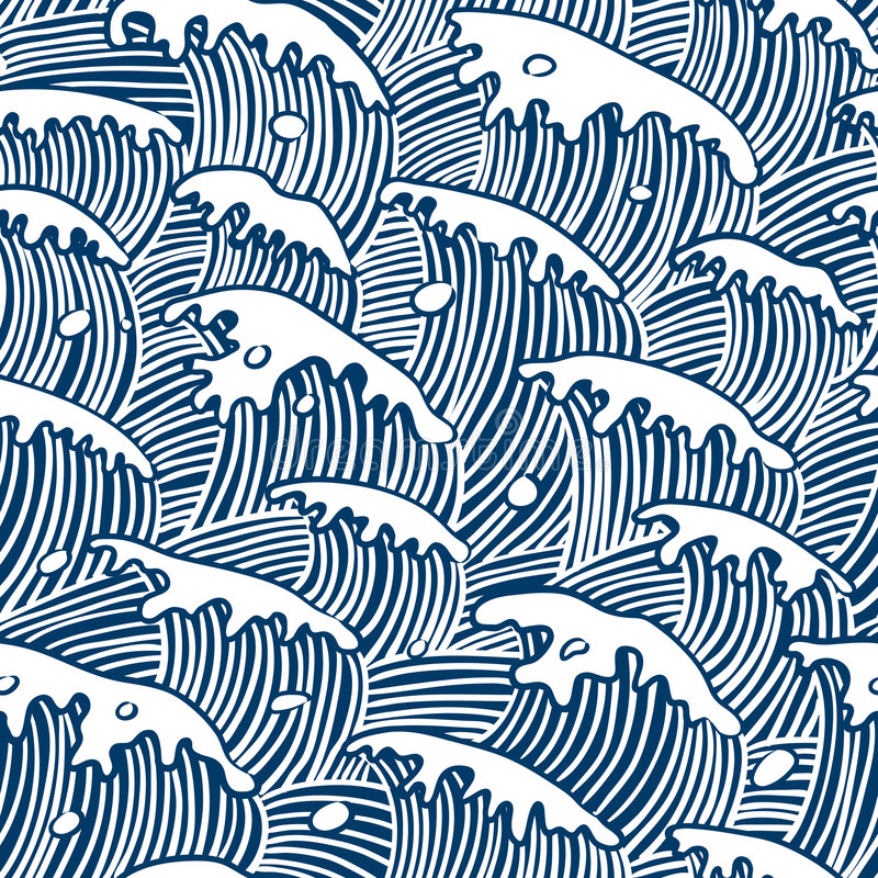 för vektorwallpaper för hav seamless waves vektor illustrationer
