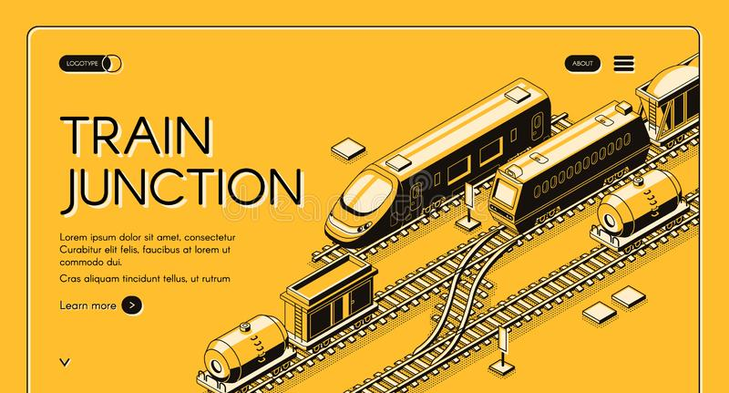 För vektorwebsite för järnväg föreningspunkt isometrisk mall stock illustrationer