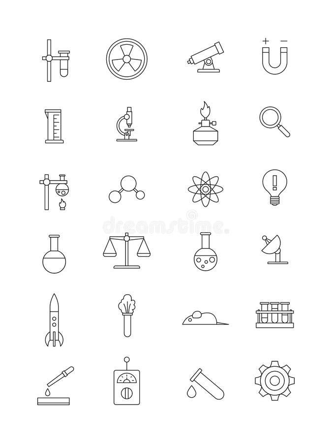 För vetenskapssymboler för vektor svart uppsättning vektor illustrationer