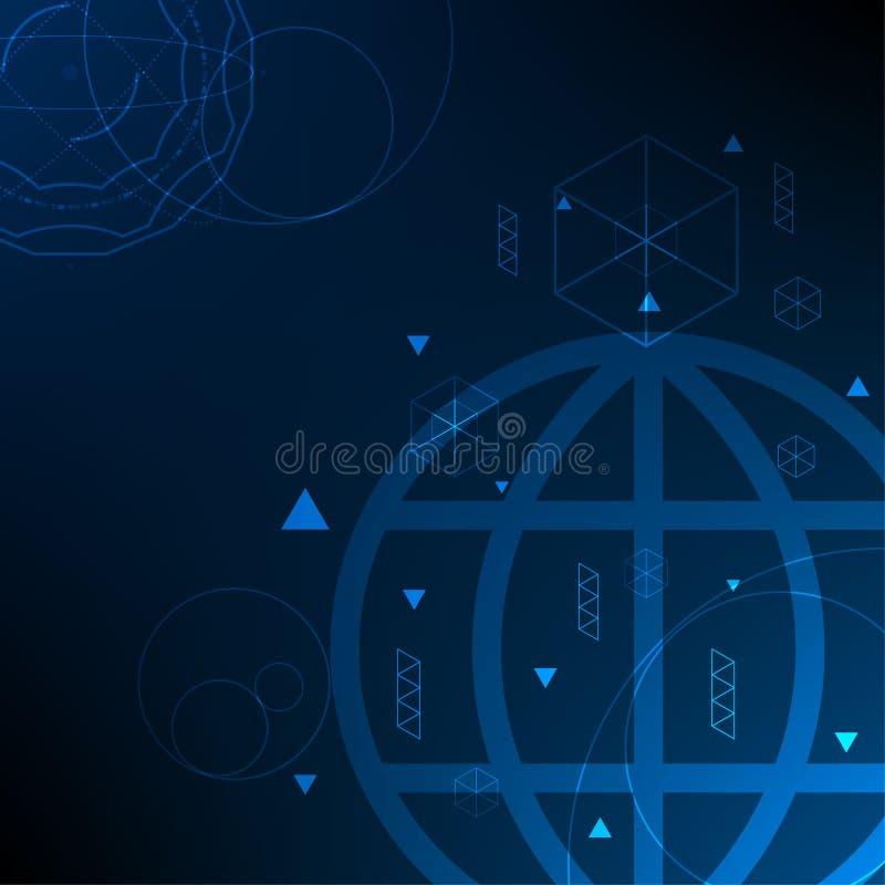 För vetenskapsteknologi för vektor global digital anslutning för nätverk, abstrakt bakgrund stock illustrationer