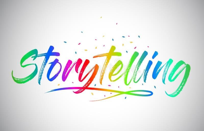 För Vetor för historieberättande idérik text ord med färger och konfettier för handskriven regnbåge vibrerande royaltyfri illustrationer
