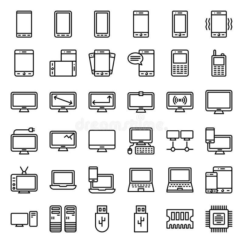 För vetorillustration för elektronisk apparat uppsättning, linje redigerbar slaglängd för symbol stock illustrationer