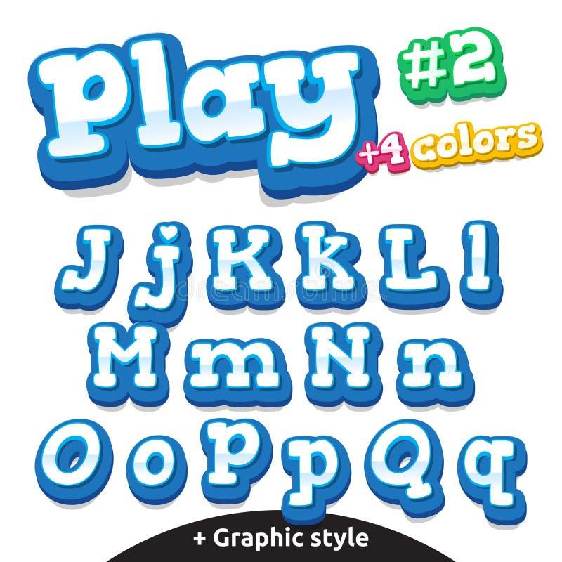 För videospelbokstäver för vektor rolig uppsättning Latinsk uppercase och litet stock illustrationer