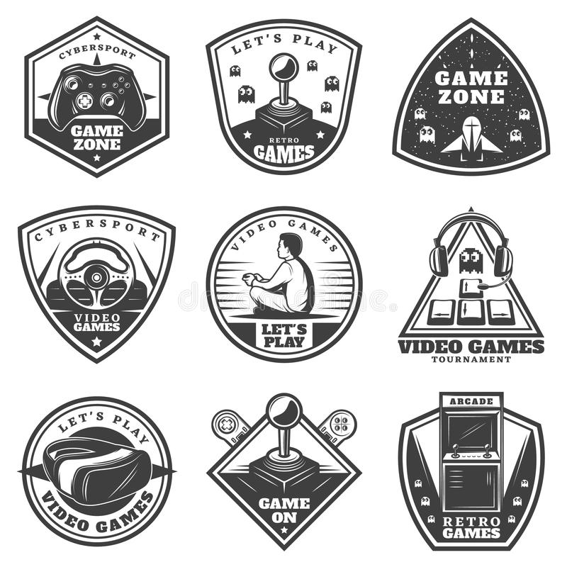 För videospeletiketter för tappning monokrom uppsättning royaltyfri illustrationer