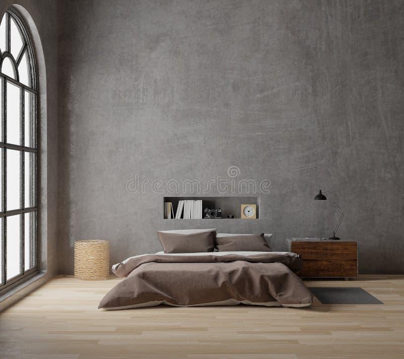 för vindstil för tolkning 3D sovrum med det rå konkreta trägolvet, stort fönster vektor illustrationer