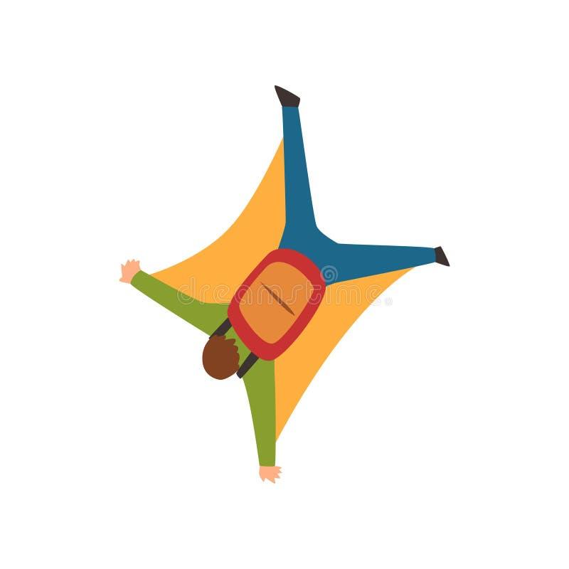 För vingdräkt för ung man bärande flyg i himlen, den extrema sporten och hoppa med fritt fall begreppsvektorillustrationen på en  stock illustrationer