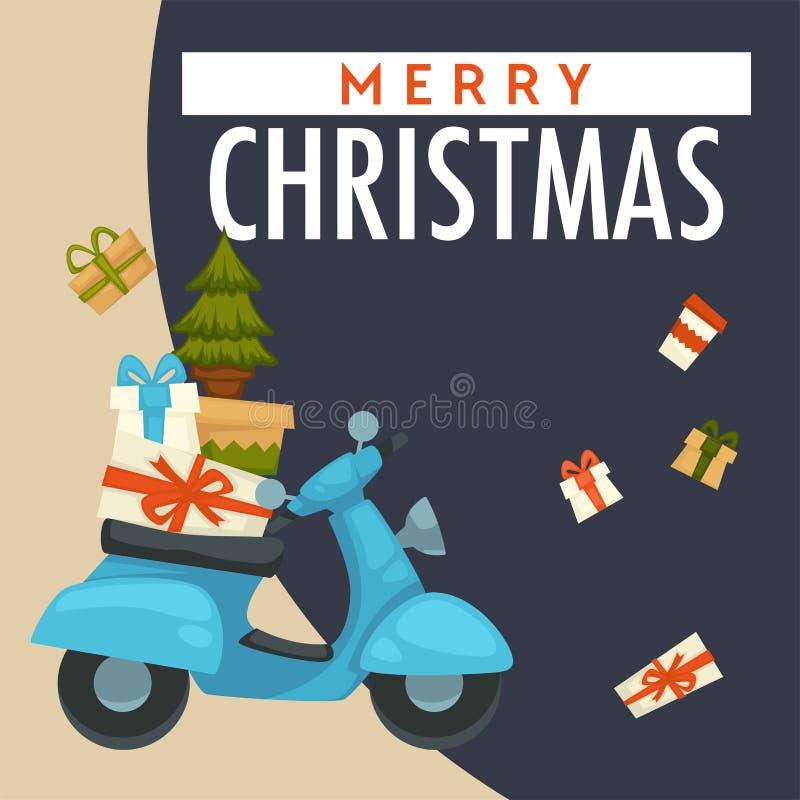 För vinterferie för glad jul förberedelse, sparkcykel med gåvavektorn stock illustrationer