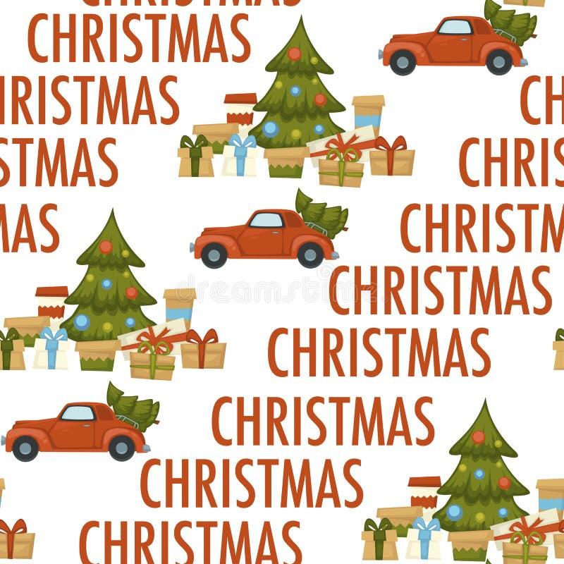 För vinterferie för glad jul som modell för beröm och för förberedelse sömlös isoleras på vit bakgrund vektor illustrationer