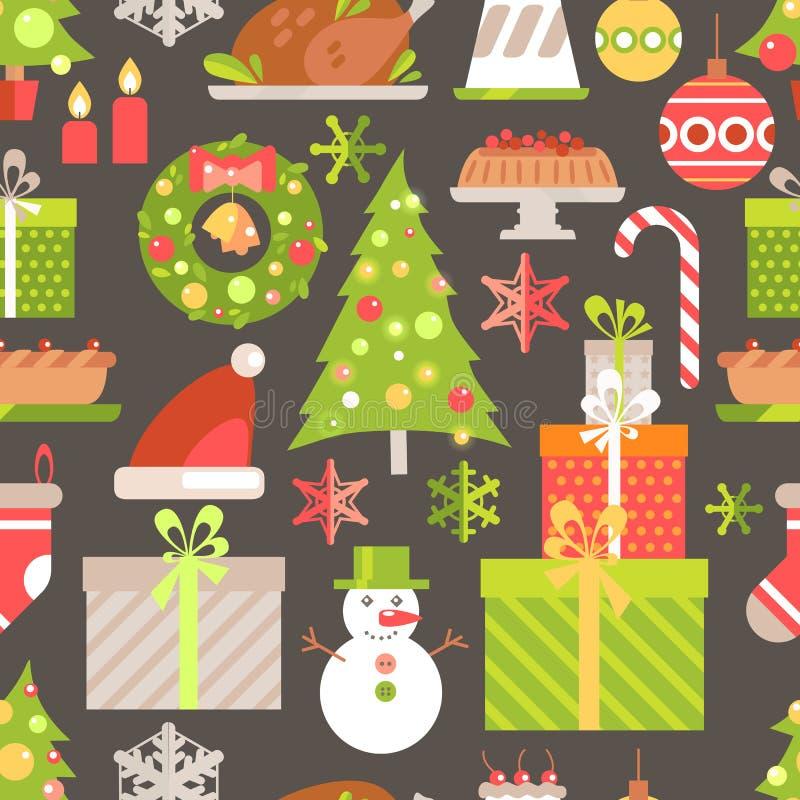 För vinterferie för vektor plan sömlös modell Julsymboler, stock illustrationer