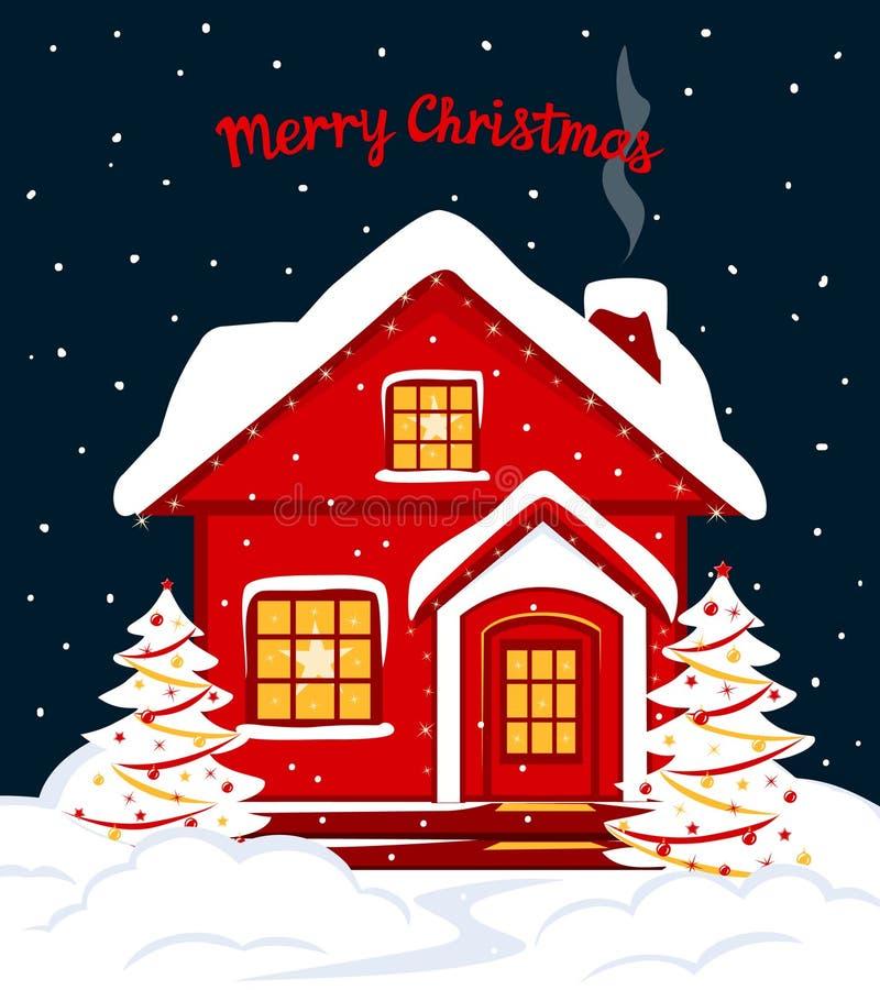 För vinterkort för glad jul och för lyckligt nytt år säsongsbetonad mall med det röda xmas-huset i snö royaltyfri illustrationer