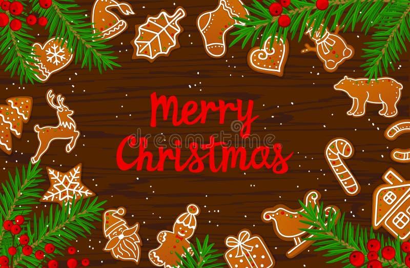 För vinterkort för glad jul och för lyckligt nytt år säsongsbetonade kakor för pepparkaka för bakgrund på trätexturtabellen stock illustrationer