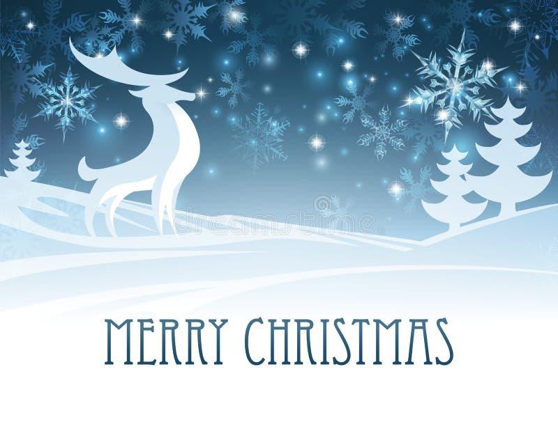 För vinterlandskap för glad jul plats för hjortar stock illustrationer