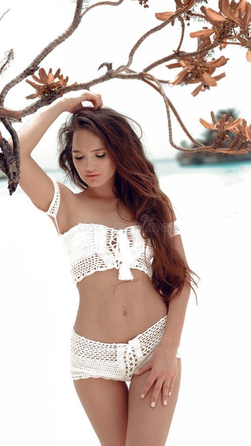 F?r virkningbikini f?r h?rlig sexig flicka som b?rande vit swimwear poserar vid tr?det p? havskusten Slank brunettmodell med sunt royaltyfria foton