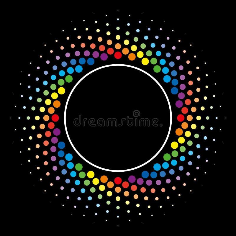 För virvelcirkel för regnbåge rastrerad beståndsdel för design för vektor för ram vektor illustrationer