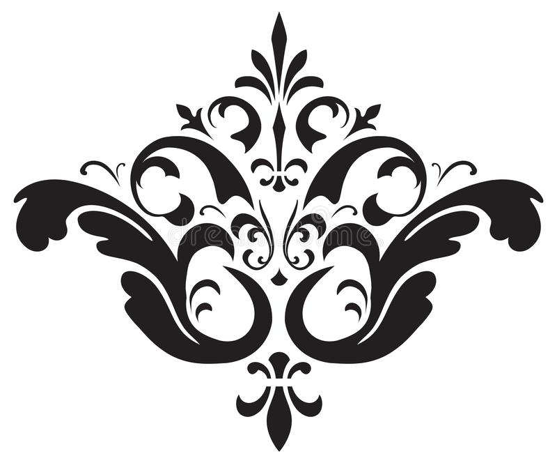 För virvelvektor för tappning Calligraphic viktoriansk uppsättning arkivfoton