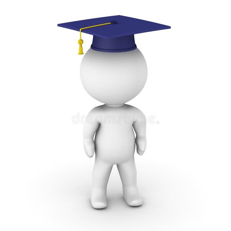 för visningavläggande av examen för man 3D hatt royaltyfri illustrationer
