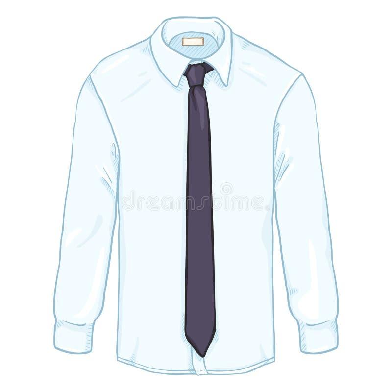 För vit Lång-muff för vektortecknad film skjorta klassisk män med en slips stock illustrationer