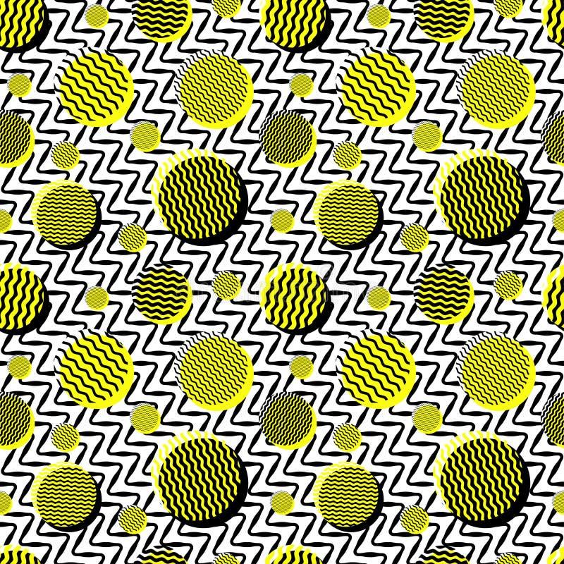 För vitguling för vektor linjer och cirklar för sömlös svart 80-tal för tappning blandar ihop krabba modellen stock illustrationer